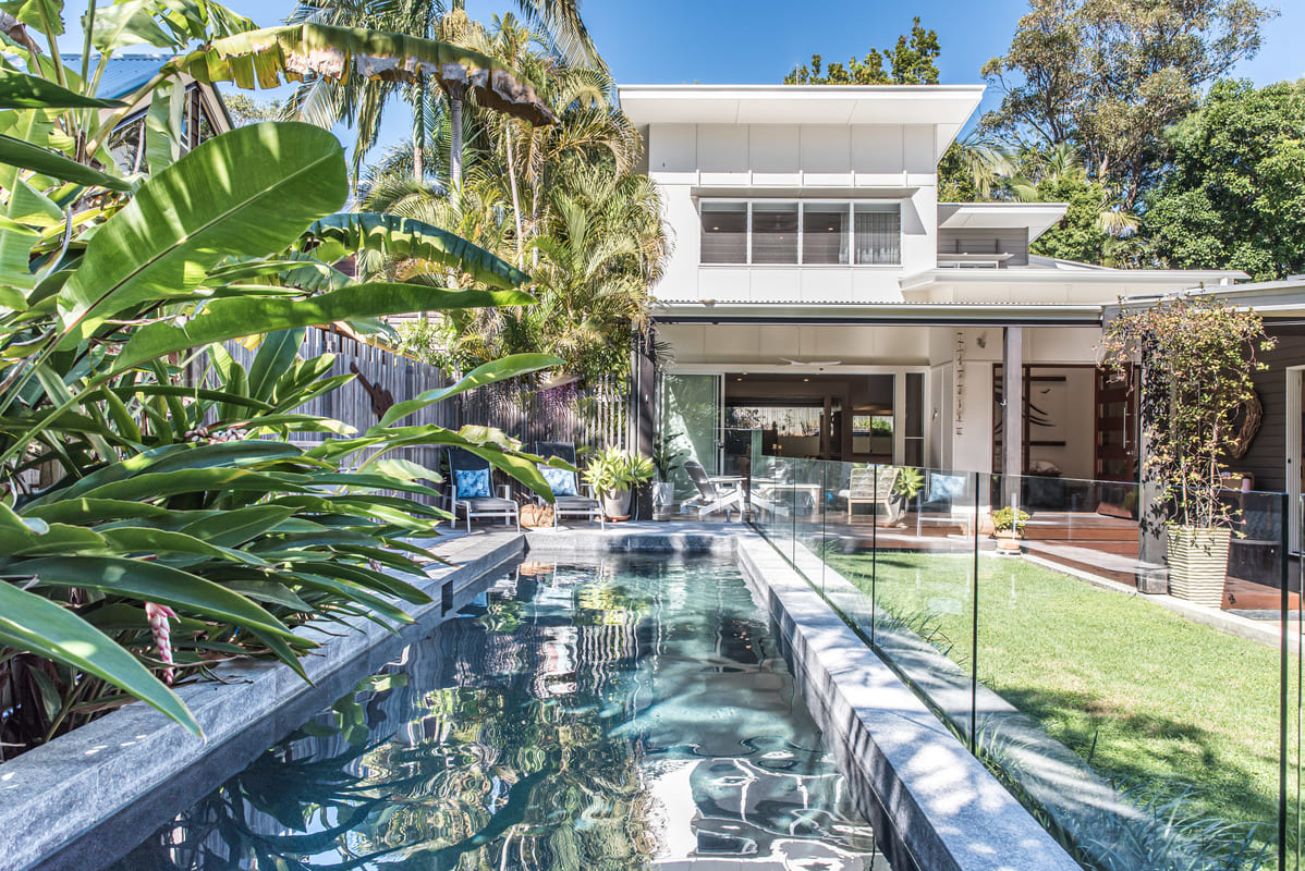 Heated private pool (Winter), fully fenced and private with rainforest views.